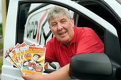 DPD Owner Driver Franchisee John Mallon Owner Driver Franchisee  with the leaflets given to to win the gift voucher for £250 at the DPD distribution centre  at Thorncliffe Chapeltown Sheffield 14  July 2010 .Images © Paul David Drabble.