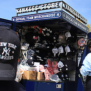 Official team merchandise on sale outside the ground during the New York Yankees V Los Angeles Angels Baseball game at Yankee Stadium, The Bronx, New York. 15th March 2012. Photo Tim Clayton