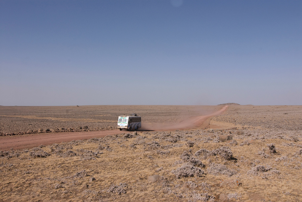 Loaded lbus on a road on top of the Bale mountains, Ethiopia,Africa