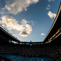 A general view of the sky and clouds at Rod Laver Arena on day one of the 2018 Australian Open in Melbourne, Australia on Monday January 15, 2018.<br /> (Ben Solomon/Tennis Australia)