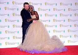 Eddie Marsan and Cynthia Erivo in the press room at the 72nd British Academy Film Awards held at the Royal Albert Hall, Kensington Gore, Kensington, London.