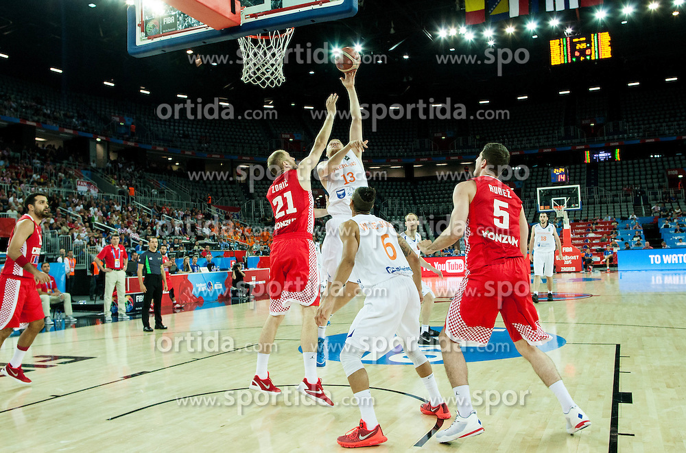 Luka Zoric of Croatia vs Rowland Schaftenaar of Netherlands during basketball match between Netherlands and Croatia at Day 5 in Group C of FIBA Europe Eurobasket 2015, on September 9, 2015, in Arena Zagreb, Croatia. Photo by Vid Ponikvar / Sportida