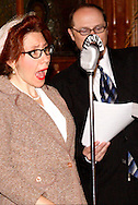 "Jene Rebbin Shaw (left) and J. Gary Thompson during Mayhem & Mystery's production of ""Forties Yuletide Frolics"" at the Spaghetti Warehouse in downtown Dayton, Monday, November 14, 2011."