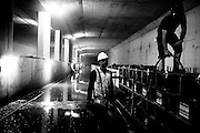 Workers underground at the new north/south metro line being built in Amsterdam. Image © Angelos Giotopoulos/Falcon Photo Agency.