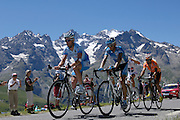 France - Wednesday, Jul 23 2008: Gerolsteiner's Stefan Schumacher (Ger) leads Milram's Peter Vilets (Swi), Francaise des Jeux's Rémy Di Gregorio (Fra) and Euskaltel-Euskadi's Rubén Pérez (Spa) on the Col du Galibier during stage 17 (Embrun to Alpe d'Huez) of the 2008 Tour de France cycle race. (Photo by Peter Horrell / http://www.peterhorrell.com)