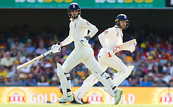England's Mark Stoneman and James Vince in action during day one of the Ashes Test match at The Gabba, Brisbane.