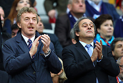 27.05.2015, Nationalstadion, Warschau, POL, UEFA EL, Dnjepr Dnjepropetrovsk vs FC Sevilla, Finale, im Bild PREZES PZPN ZBIGNIEW BONIEK PREZES UEFA MICHEL PLATINI // during the UEFA Europa League final match between Dnjepr Dnjepropetrovsk and FC Sevilla Nationalstadion in Warschau, Poland on 2015/05/27. EXPA Pictures &copy; 2015, PhotoCredit: EXPA/ Newspix/ MICHAL NOWAK<br /> <br /> *****ATTENTION - for AUT, SLO, CRO, SRB, BIH, MAZ, TUR, SUI, SWE only*****