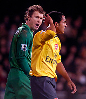 Photo: Ed Godden.<br /> Fulham v Arsenal. The Barclays Premiership. 29/11/2006.<br /> Arsenal's Jens Lehmann (L) shouts his orders to Theo Walcott.