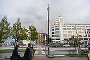 Nederland, Eindhoven, 19-10-2014Het gebouw de witte dame in de stad Eindhoven. Het maakt onderdeel uit van de stadswandeling die langs vele historische philips lokaties voert.Het gebouw is gerenoveerd en biedt huisvesting aan o.a. de design akademie. Lichttoren. Frits Philips. Stadsbeeld, stadslandschap, stadsgezicht.Foto: Flip Franssen/Hollandse Hoogte