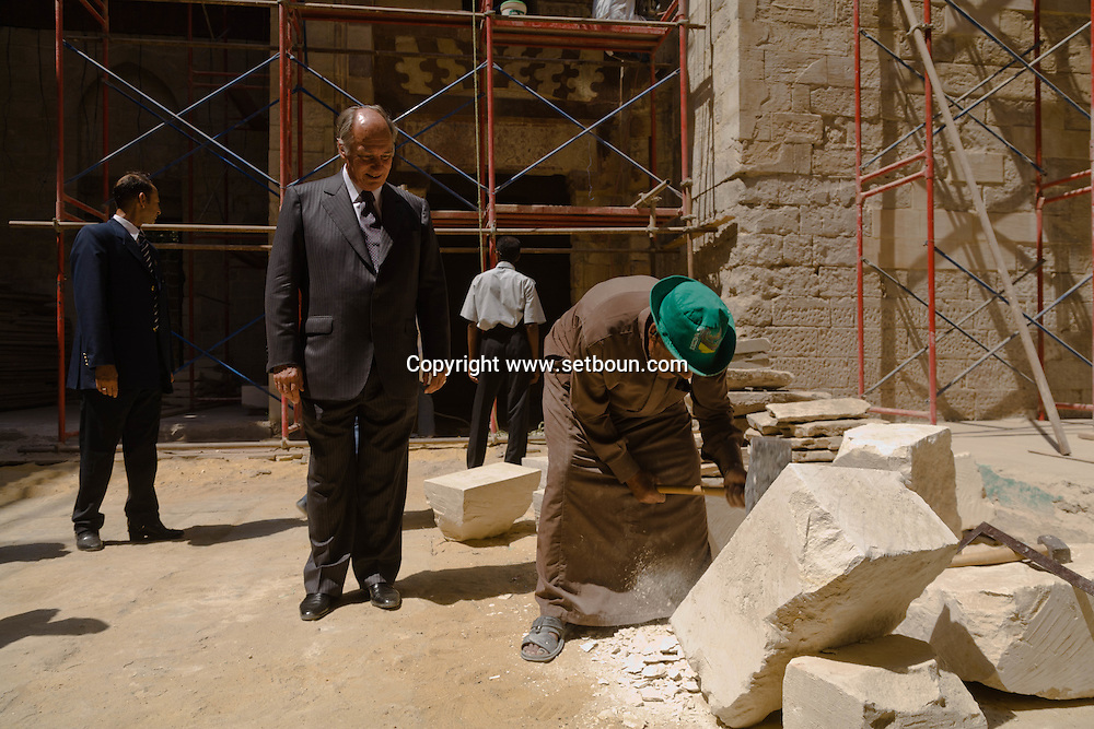 Egypt. Cairo : The prince Karim Aga Khan visit  Shaban - Cha'Ban - Mosque. a  project of the Aga Khan foundation. in the old islamic city  Cairo  Egypt  +