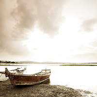 Twin Boats Parked Lakeside, India. Sepia Toned for wall Art.
