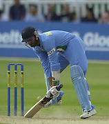 .24/06/2002.Sport - Cricket - .One day game 50 overs - Kent CC vs India.St Lawrence Ground - Canterbury.'Fancy footwork'  Harbhajan Singh.
