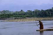Machiguenga Indian Fishing<br />Timpia Community<br />Lower Urubamba River. Amazon Rain Forest.  PERU<br />South America