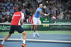 Argentinans players Juan Martin Del Potro and Leonardo Mayer during the double match at the Davis Cup final tie between Croatia and Argentina at the Arena, Zagreb, Croatia on november, 26, 2016. Photo by Corinne Dubreuil/ABACAPRESS.COM
