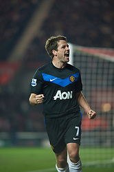 SOUTHAMPTON, ENGLAND - Saturday, January 29, 2011: Manchester United's Michael Owen celebrates scoring the equalising goal to msake it 1-1 against Southampton during the FA Cup 4th Round match at St. Mary's Stadium. (Photo by Gareth Davies/Propaganda)