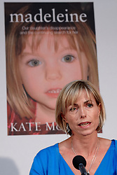 © licensed to London News Pictures. LONDON, UK  12/05/2011. Kate (pictured) and Gerry (not pictured) McCann hold a press conference to launch a book about their daughter Madeleine disappearance. All royalties are being used to fund the ongoing investigation to her whereabouts. Please see special instructions for usage rates. Photo credit should read CLIFF HIDE/LNP