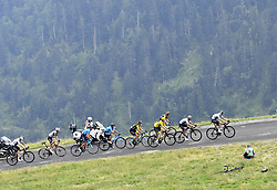 July 25, 2018 - Saint Lary Soulan, France - SAINT-LARY-SOULAN COL DU PORTET, FRANCE - JULY 25 : DUMOULIN Tom (NED) of Team Sunweb, KRUIJSWIJK Steven (NED) of Team Lotto NL - Jumbo, ROGLIC Primoz (SLO) of Team Lotto NL - Jumbo   FROOME Chris (GBR) of Team SKY, THOMAS Geraint (GBR) of Team SKY during stage 17 of the 105th edition of the 2018 Tour de France cycling race, a stage of 65 kms between Bagneres-de-Luchon and Saint-Lary-Soulan Col Du Portet on July 25, 2018 in Saint-Lary-Soulan Col Du Portet, France, 25/07/2018 (Credit Image: © Panoramic via ZUMA Press)