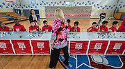 Chess grandmaster Susan Polgar plays students at Ryan Middle School, September 15, 2014.