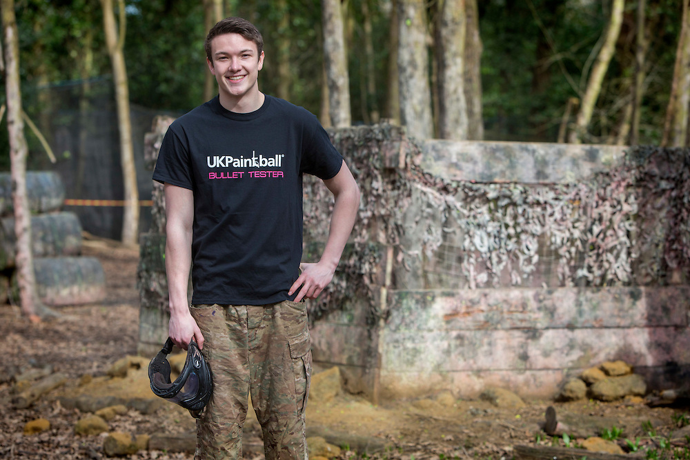 Jordan Williams, 19, beat 10,000 other hopefuls to land a job as a paintball tester for UK Paintball.<br /> Photograph: Rosie Hallam/Platform Press