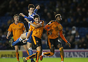 Brighton central defender, Lewis Dunk (5) header goes closeduring the Sky Bet Championship match between Brighton and Hove Albion and Wolverhampton Wanderers at the American Express Community Stadium, Brighton and Hove, England on 1 January 2016.