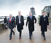 Scottish Labour leader Jim Murphy and Shadow Chancellor Ed Balls will visit the Marine Operations Centre in Aberdeen, to discuss the ongoing crisis in the North Sea oil industry.<br /> <br /> Picured is (L to R):Lewis Macdonald MSP, Jim Murphy MP, Ed Balls MP, Tom Greatrex MP<br /> <br /> (Picture by Michal Wachucik/Newsline Media Ltd)