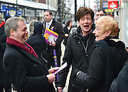 © Licensed to London News Pictures. 12/02/2013. Eastleigh, UK NIGEL FARAGE (L) and DIANE JAMES (Centre). Diane James, chosen yesterday to fight the Eastleigh by election for UKIP, campaigns with Nigel Farage, leader of the party, in Easleigh's Market Street today 12th February 2013. Photo credit : Stephen Simpson/LNP