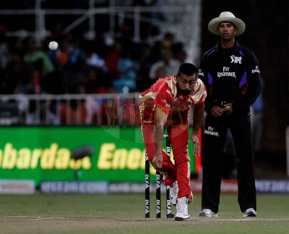 DURBAN, SOUTH AFRICA - 1 May 2009. Praveen Kumar bowls during the IPL Season 2 match between Kings X1 Punjab and the Royal Challengers Bangalore held at Sahara Stadium Kingsmead, Durban, South Africa...