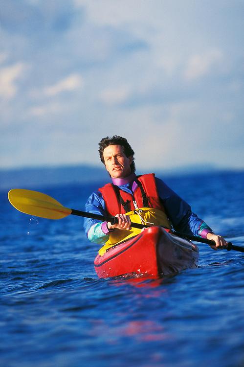 Man kayaking off Seattle Washington USA&amp;#xA;<br />