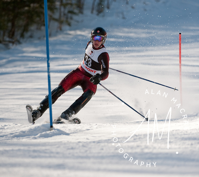 Belmont's Angelo Palmer catches an edge as he makes his way through a gate in the slalom run in the Division III State Championship at Gunstock on Tuesday, February 9, 2010.  (Alan MacRae/for the Citizen)