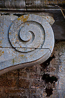 Spiral stone support detail at Chateauneuf-en-Auxois, France.
