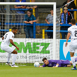 Dovers keeper Mitch Walker makes an early save during the National League match between Dover Athletic FC and Eastleigh FC at Crabble Stadium, Kent on 25 August 2018. Photo by Matt Bristow.