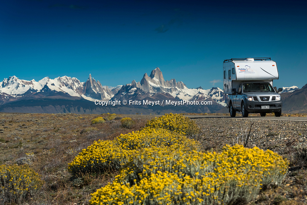 El Chalten, Los Glaciares National Park, Patagonia, Argentina, February 2016. Mount Fitz Roy and Cerro Torre mark the end of the Pampas.  El Chalten is a good trekking base for Los Glaciares NP. A 4x4 camper is one of the best vehicles to explore the wild interior of Southern Patagonia. Photo by Frits Meyst / MeystPhoto.com