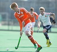 ROTTERDAM -    David Luijckx  (Neth)  with Daniel West   (Eng).     Practice Match  Hockey : Netherlands Boys U16  v England U16 . COPYRIGHT KOEN SUYK