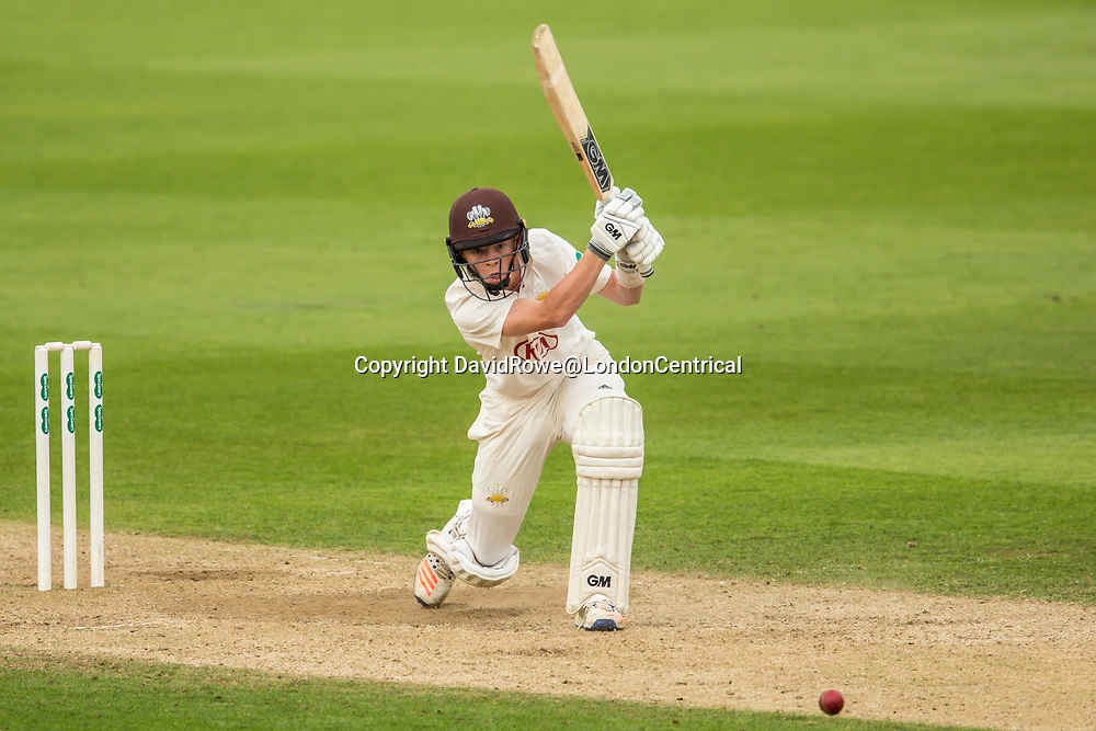 London,UK. 29 August 2017. Ollie Pope batting for Surrey against Middlesex at the Oval on day two of the Specsaver County Championship match at the Oval. David Rowe/ Alamy Live News
