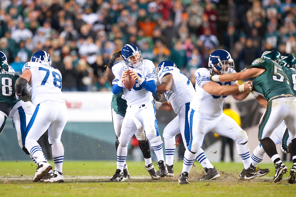 PHILADELPHIA - NOVEMBER 07: Peyton Manning #18 of the Indianapolis Colts is pressured by the Philadelphia Eagles defense on November 7, 2010 at Lincoln Financial Stadium in Philadelphia, Pennsylvania.The Eagles defeated the Colts 26 to 24. (Photo by Rob Tringali) *** Local Caption *** Peyton Manning