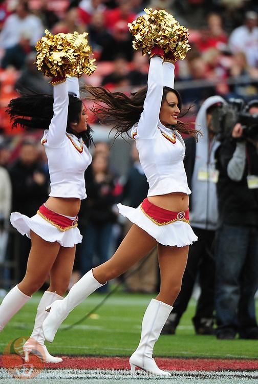 October 11, 2009; San Francisco, CA, USA; San Francisco 49ers Gold Rush cheerleader KellyAnn Malvini performs before the game against the Atlanta Falcons at Candlestick Park. The Falcons defeated the 49ers 45-10. Mandatory Credit: Kyle Terada-Terada Photo