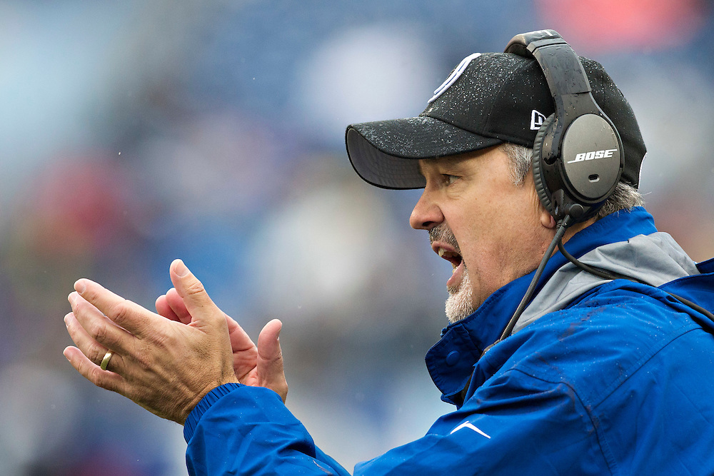 NASHVILLE, TN - DECEMBER 28:  Head Coach Chuck Pagano of the Indianapolis Colts yells to his team during a game against the Tennessee Titans at LP Field on December 28, 2014 in Nashville, Tennessee.  The Colts defeated the Titans 27-10.  (Photo by Wesley Hitt/Getty Images) *** Local Caption *** Chuck Pagano
