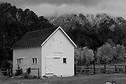 Old barn during autumn in Atlanta, Idaho.
