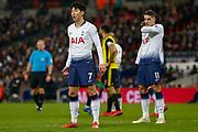 Tottenham Hotspur forward Son Heung-Min (7) and Tottenham Hotspur midfielder Erik Lamela (11) during the Premier League match between Tottenham Hotspur and Watford at Wembley Stadium, London, England on 30 January 2019.