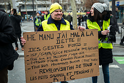 Act 12 of yellow vests protest in Paris, France, on February 02, 2019. Photo by Denis Prezat/Avenir Pictures/ABACAPRESS.COM