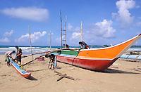 Sri Lanka<br /> Côte sud - Weligama - Scene de pêche sur la plage de Weligama