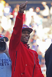 Feb 7, 2012; East Rutherford, NJ, USA; New York Giants wide receiver Victor Cruz during the New York Giants Super Bowl XLVI Rally at MetLife Stadium.