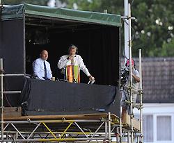 Yeovil Town Manager, Gary Johnson watches front eh Sky box  - Photo mandatory by-line: Joe Meredith/JMP - Tel: Mobile: 07966 386802 04/09/2013 - SPORT - FOOTBALL -  Ashton Gate - Bristol - Bristol City V Bristol Rovers - Johnstone Paint Trophy - First Round - Bristol Derby