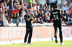 New Zealand's Trent Boult takes the catch to dismiss West Indies Chris Gayle during the ICC Cricket World Cup group stage match at Old Trafford, Manchester.