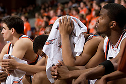 The Virginia bench after losing to Clemson.  The Virginia Cavaliers men's basketball team fell the Clemson Tigers at 82-51 the John Paul Jones Arena in Charlottesville, VA on February 7, 2008.