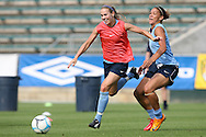 25 April 2008: Heather Mitts (l) and Natasha Kai (r). The United States Women's National Team held a training session in WakeMed Stadium, formerly SAS Stadium, in Cary, NC.