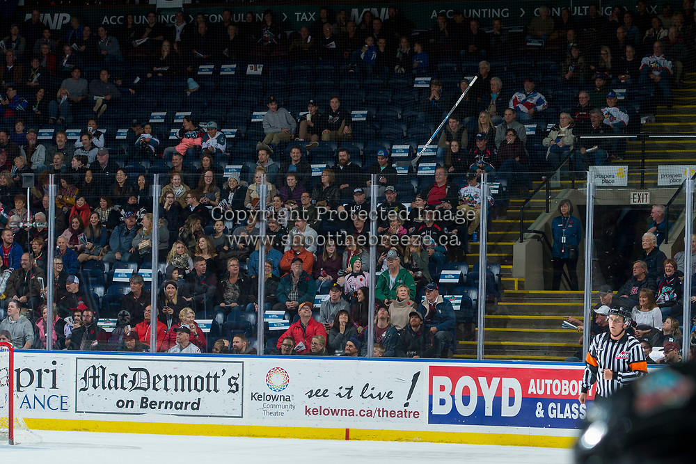 KELOWNA, CANADA - NOVEMBER 10: A stick gets stuck in the netting during third period on November 10, 2017 at Prospera Place in Kelowna, British Columbia, Canada.  (Photo by Marissa Baecker/Shoot the Breeze)  *** Local Caption ***