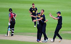 Warwickshire celebrate the wicket of Jim Allenby.  - Mandatory by-line: Alex Davidson/JMP - 29/08/2016 - CRICKET - Edgbaston - Birmingham, United Kingdom - Warwickshire v Somerset - Royal London One Day Cup semi final