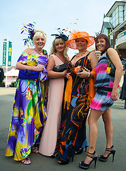 LIVERPOOL, ENGLAND - Friday, April 9, 2010: Female race-goers from Liverpool attend Ladies' Day during the second day of the Grand National Festival at Aintree Racecourse. (Pic by David Rawcliffe/Propaganda)