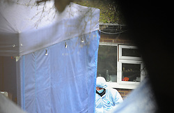 © Licensed to London News Pictures. 06/01/2016<br /> Forensic police officer working in the backgarden today (06.01.2016)<br /> Ex-Eastenders actress Sian Blake's home in Erith,Kent has turned into a crime scene (06.01.2016) with officers from the Met's Homicide and Major Crime Command leading the murder investigation.<br /> <br /> (Byline:Grant Falvey/LNP)